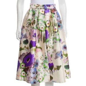 Lela Rose Sz 4 Watercolor Floral Silk Blend Skirt